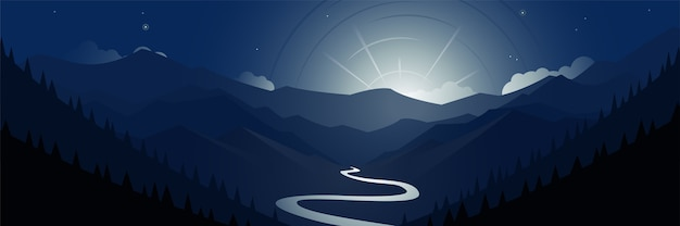 Night valley mountains and moon scene panoramic illustration