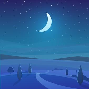 Nighttime natura krajobraz w wsi z drzewami i gwiaździstym niebem