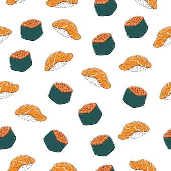 Nigiri sushi wzór z konturem.