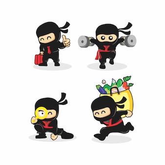Ninja aktywność maskotka wektor
