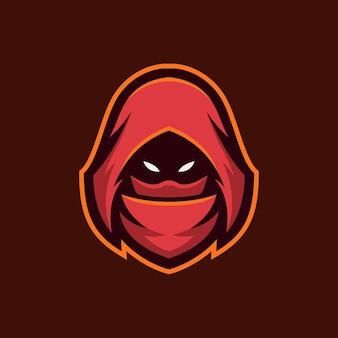 Ninja głowa kreskówka logo szablon ilustracja esport logo gry wektor premium