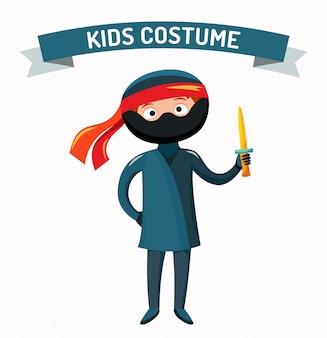 Ninja kid kostium na białym tle ilustracji wektorowych