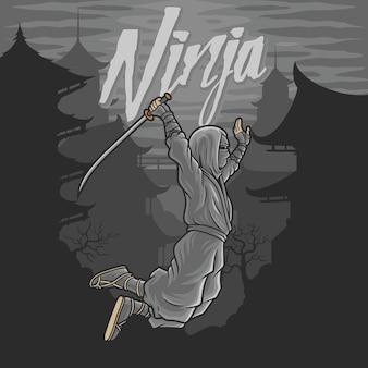 Ninja latający z mieczem i tłem stary budynek po chińsku