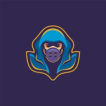 Ninja maska głowa kreskówka logo szablon ilustracja esport logo gry wektor premium