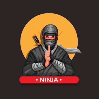 Ninja maskotka postać postać kultury japońskiej ilustracja kreskówka wektor