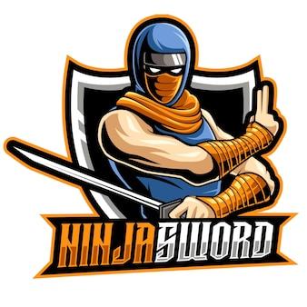 Ninja samurai, ilustracja wektorowa logo e-sportu maskotki