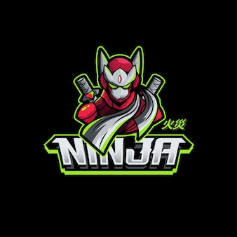Ninja sword character gaming logo maskotka