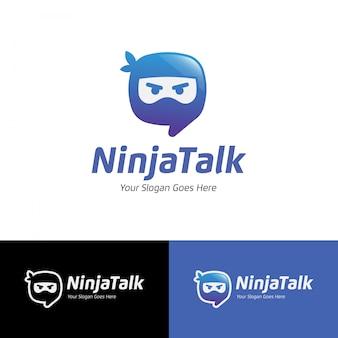 Ninja talk apps wiadomość logo szablon wektor