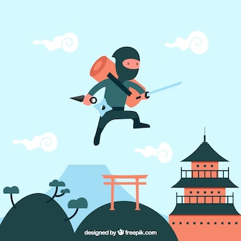 Ninja wojownik tło z płaska konstrukcja