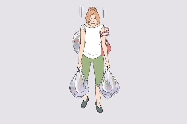 Niosąc ciężkie torby koncepcja zmęczenia. młoda, wyczerpana, zmęczona kobieta postać z kreskówki, która niesie wiele ciężkich toreb na zakupy pełnych jedzenia z ilustracji wektorowych w supermarkecie
