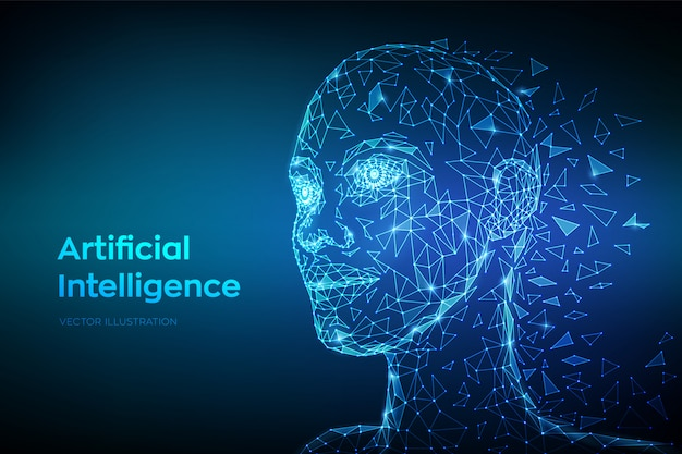 Niska wielokąta abstrakcyjna cyfrowa twarz ludzka. ai. koncepcja sztucznej inteligencji.
