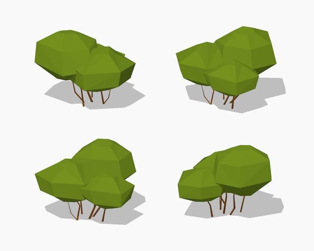 Niski poli zielony krzew