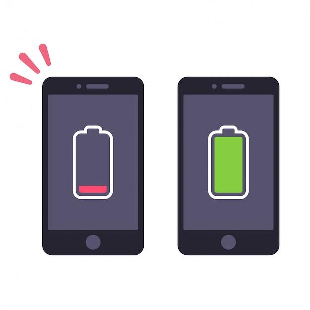 Niski poziom naładowania baterii i naładowany smartfon