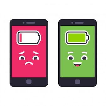 Niski poziom naładowania baterii i naładowany telefon