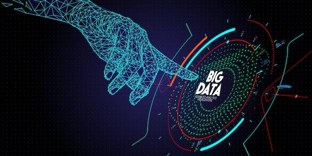 Niski wielokąt dotykanie dłoni zaawansowana technologia i wizualizacja dużych danych z elementem fraktalnym z układem linii i kropek.