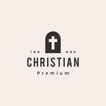 Niszowe drzwi chrześcijański krzyż hipster vintage logo