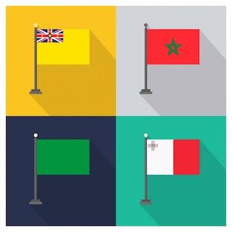 Niue maroko libia i malta flagi