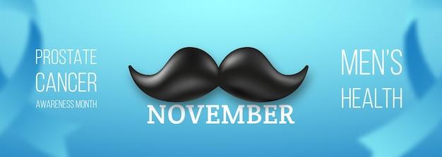 No shave november długi poziomy baner z wąsami w stylu retro.