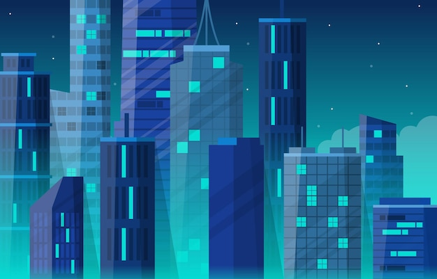 Noc city building construction cityscape skyline biznes ilustracja