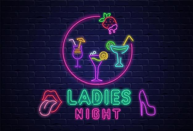 Noc damska teksturowany szyld z kolorowym neonem