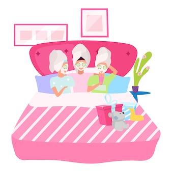 Noc dziewczyny płaskie ilustracja. dziewczyny stosujące maski na twarz postaci z kreskówek. koleżanki w łóżku, śpiące razem. sen, sen party urodziny koncepcja. dzień spa w domu