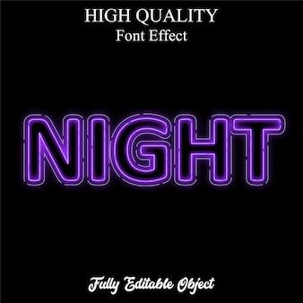 Noc fioletowy neon styl tekstu edytowalny efekt czcionki