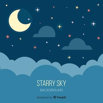 Noc Gwiaździste Niebo W Tle Premium Wektorów