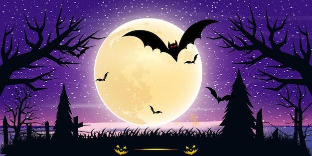 Noc halloweenowa kompozycja księżyca ze świecącym zabytkowym zamkiem dyni i nietoperzami latającymi nad cmentarzem