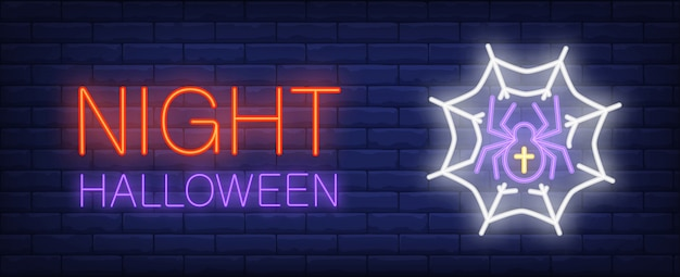 Noc halloweenowy neonowy stylowy sztandar z pająkiem w webon cegły tle.