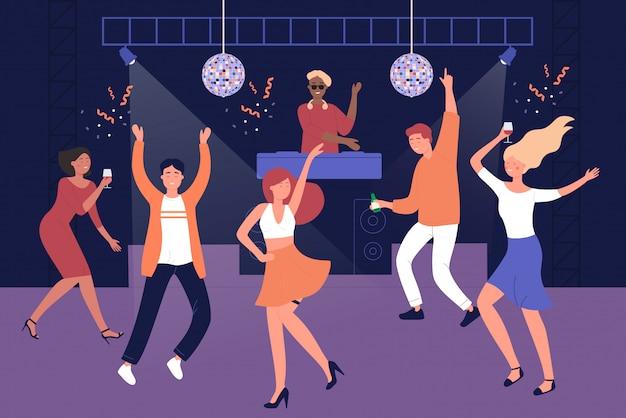 Noc klubu uczni dyskoteki wektoru ilustraci ludzie