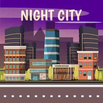 Noc miasto w tle