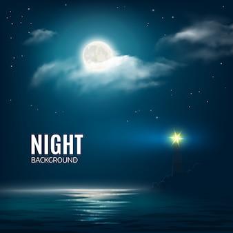 Noc natura pochmurne niebo z gwiazdami, księżyc i spokojne morze z latarnią morską.