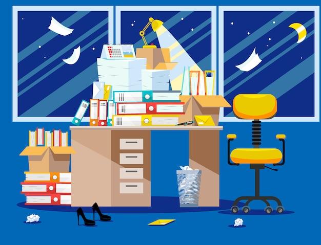Noc okres składania raportów księgowych i finansistów. stos dokumentów papierowych i folderów w tekturowych pudełkach na stole biurowym. ilustracja wektorowa płaskie okna, krzesło i kosz na śmieci