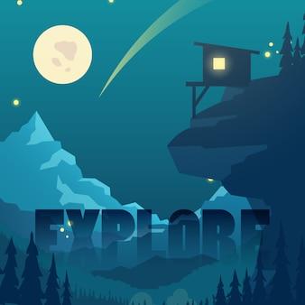 Noc płaski wektor górski krajobraz z księżyca, gwiazd i góry sylwetka domu