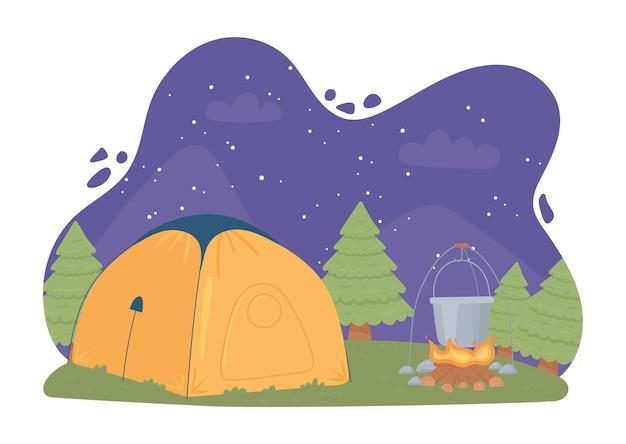 Noc pod namiotem kempingowym