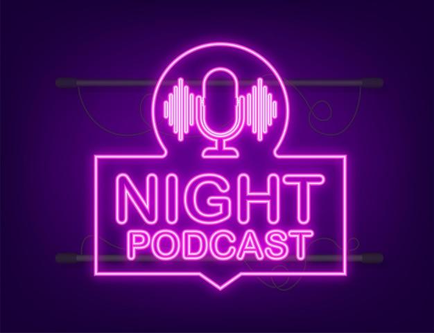 Noc podcast neon ikona, symbol wektor w płaski izometryczny styl na białym tle. czas ilustracja wektorowa.