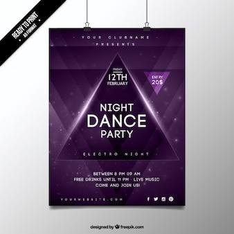 Noc tańca fioletowy party plakat