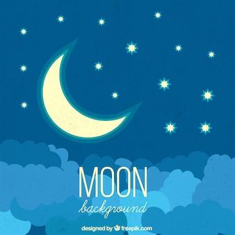 Noc tła z księżyca i gwiazd