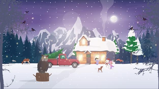 Noc w lesie. dom w zaśnieżonym lesie iglastym. noc, las, drzewa, chata, sowa, jeleń.