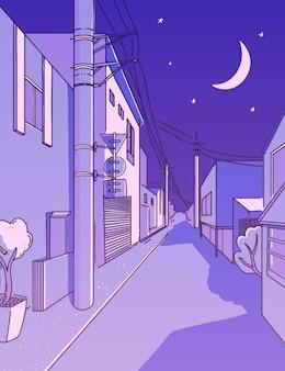 Nocna azjatycka ulica w dzielnicy mieszkalnej spokojna uliczka pionowa japońska estetyka krajobrazu