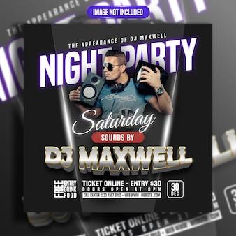 Nocna impreza z postem w mediach społecznościowych z muzyką dj