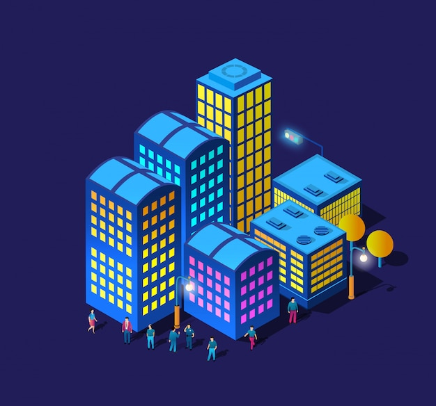Nocna inteligentna promenada spacerowa ludzi 3d przyszły neon ultrafioletowy