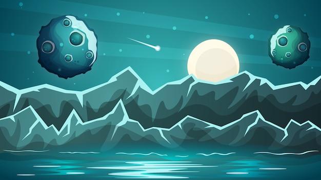 Nocna planeta, morze krajobraz.
