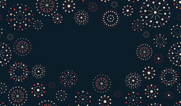 Nocna ramka tekstowa fajerwerków w kartce z życzeniami lub zaproszenie na imprezę azjatyckiego nowego roku kartkę z życzeniami