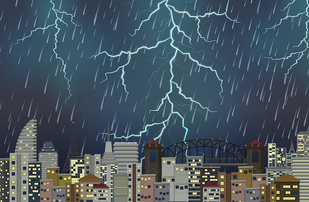 Nocna scena miejska burza z piorunami