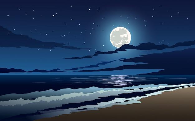 Nocna sceneria na plaży z falami, pełnią księżyca i gwiazdami