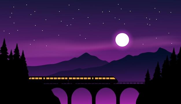 Nocna sceneria z pociągiem i światłem księżyca