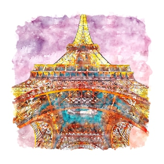 Nocna wieża eiffla paryż francja szkic akwarela ręcznie rysowane ilustracji