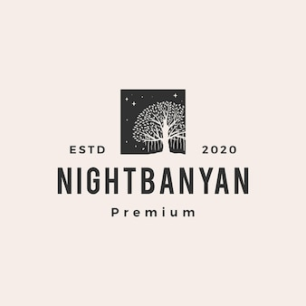Nocne drzewo figowe hipster vintage logo ikona ilustracja