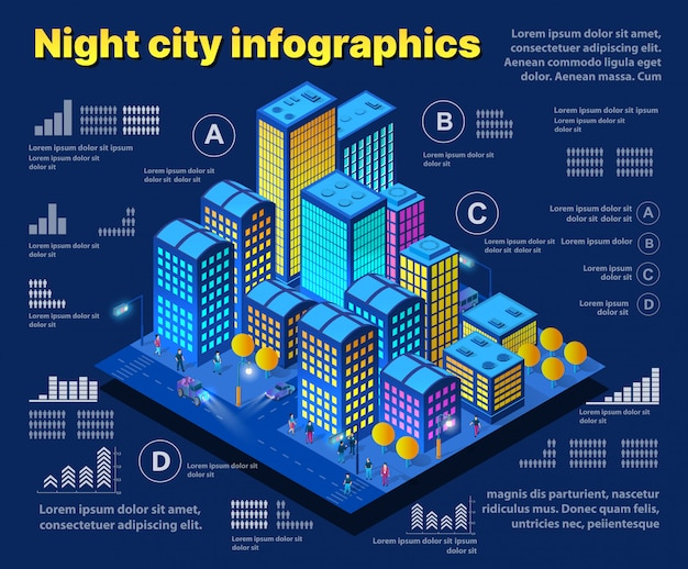 Nocne inteligentne miasto przyszłości neon ultrafioletowe